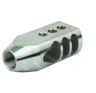 Stainless Steel 1//2x28 Thread Tanker Muzzle Brake for .223 5.56 W Crush Washer